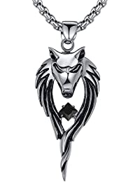 Stainless Steel Men's Biker Wolf W. Cubic Zirconia CZ Tribal Pendant Necklace with Round Link Chain