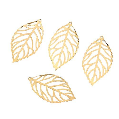 Baoblaze 100 Stück Hohl Filigrane Charms Blatt Anhänger Schmuck Finden DIY Handwerk - Gold