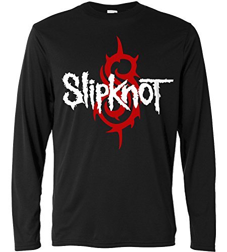 T-shirt a manica lunga Uomo - Slipknot - red and white print - Long Sleeve 100% cotone LaMAGLIERIA, M, Nero