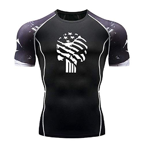 GERPY Herren T-Shirt Star Skull Enge Sport Fitness Kurzarm Sport unten Strumpfhosen