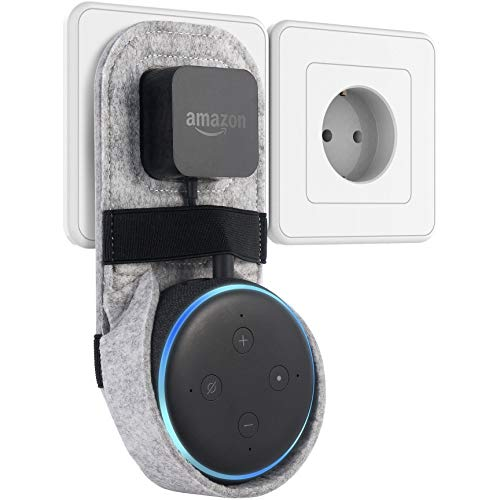 Sameants Wandhalterung Halterung Ständer für Echo Dot 3.Generation Felt Steckdose Platzsparende Lösung Ohne Unordentliche Kabel