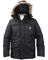 Mens Crosshatch Parka Heavy Padded Jacket Winter Fur Hooded Lined Coat