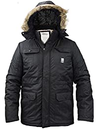 Mens Crosshatch Parka Heavy Padded Jacket Winter Fur Hooded Lined Coat
