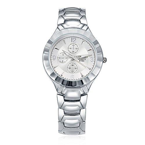 Faysting EU donna orologio da polso orologio al quarzo con corda acciao bianco quadrante argento acciaio elegante stile