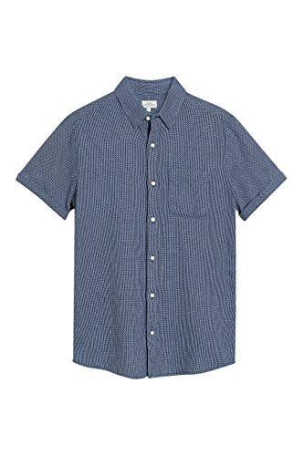 next Herren Strukturiertes Hemd mit kurzen Aermeln Regular Marineblau