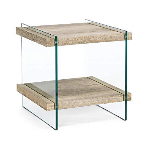 ARREDinITALY Table avec 2 étages Bois et Jambes Verre 50 x 50