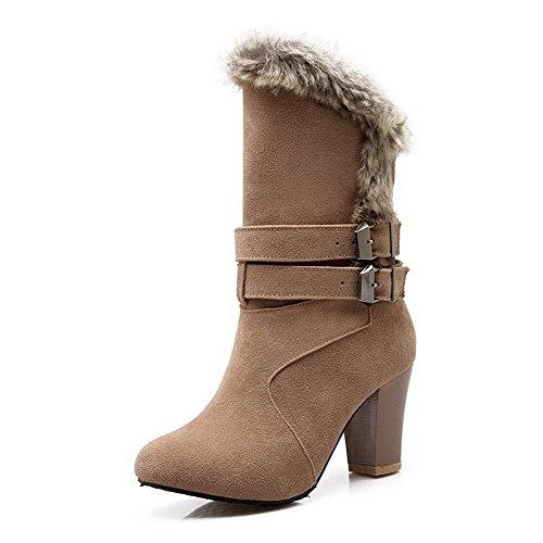 AgooLar Damen Mitte-Spitze Ziehen auf Mattglasbirne Hoher Absatz Rund Zehe Stiefel, Khaki, 37