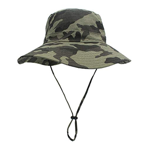 LIOOBO Sommer Sonnenhut, einstellbare Eimer Hüte Sonnenschutz Hut Outdoor Cap Hut Angeln Hut für Frauen Männer (Green Camo) -