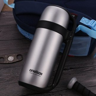 1.5L Outdoor Travel Thermal Water Kettle Insulated Vacuum Flask Thermos Coffee Carafe long heat. (Silver)