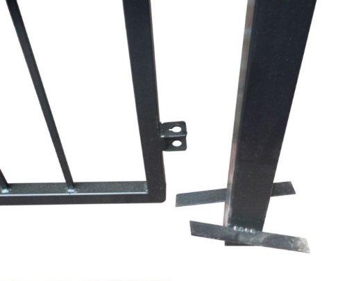 Hochwertiges, 2-flügeliges Tor mit Spitzen schwarz / Einbaubreite: 450cm - Einbauhöhe: 180cm - Inklusive 2 Pfosten (60mm x 60mm) / Hoftor Einfahrtstor Gartentor