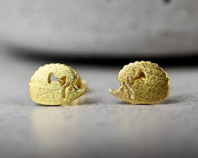 """Boucles d'oreilles""""Hérisson"""", dorées sterling 925"""