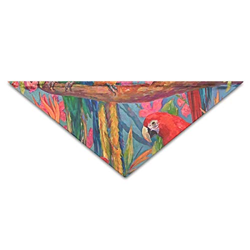 Wfispiy Tropical Leaves Parrots Bird Feather Dog Bandanas Scarves Triangle Bibs Scarfs Unique Basic Dogs Neckerchief Cat Collars Pet Costume