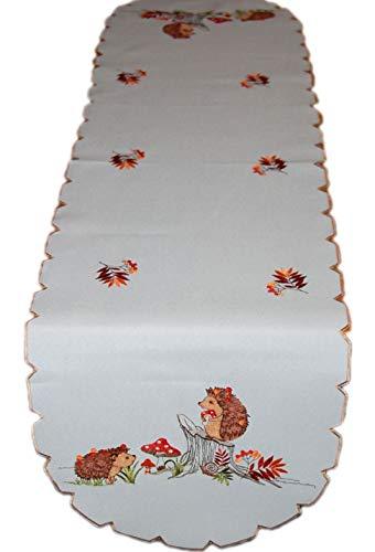 Tischdecke Pflegeleicht Herbstdecke Leinenoptik Decke Igel Fliegenpilz Bunt Gestickt Läufer Herbst (Tischläufer Oval 40x160 cm)
