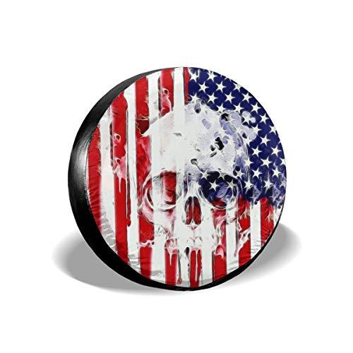 Reifenabdeckung Amerikanische Flagge Schädel Trinkwasser Polyester Universal Reserverad Reifenabdeckung Radabdeckungen Jeep Anhänger RV SUV LKW Wohnmobil Wohnwagen Zubehör (14,15,16,17 Zoll) 60-69 cm