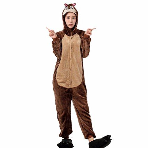 QIYUN.Z Braune Maus Cartoon Nachtwäsche Winter Paare Verbunden Hoodies Hüfte Reißverschluss - Braune Mäuse Kostüm