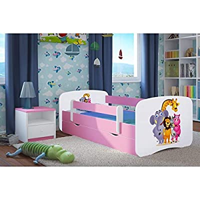 Pink Toddler Girl Bed Kids Bed Princess Horse Children's Single Bed with Mattress and Storage Included - Baby Dreams,(Zoo, Large (180x80))