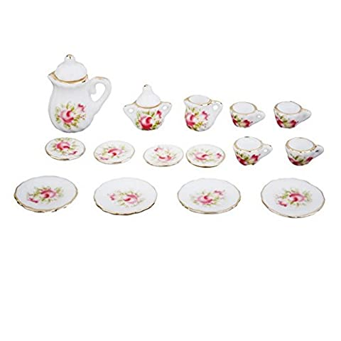 SUOSI 15 Pcs Dollhouse Tea Set Miniature Floral Porcelain manger Vaisselle en c¨¦ramique ¨¤ th¨¦ rose