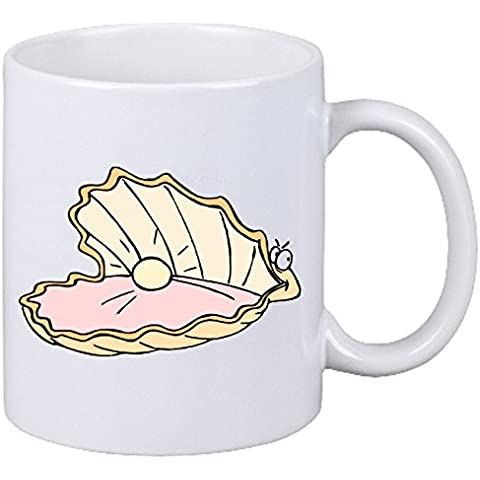 Taza párrafo cafetería abierta las perlas de Shell de la historieta Animación Cómic cerámica Altura 9.5 cm de diámetro de 8 cm de Blanco