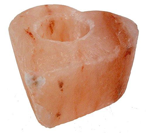 Portavelas de sal del Himalaya en forma de corazón