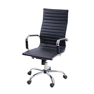 EBS Sedia da Ufficio, Girevole Poltrona Sedia da Scrivania/Tavolo per Computer Ergonomica, Poliuretano-Nero