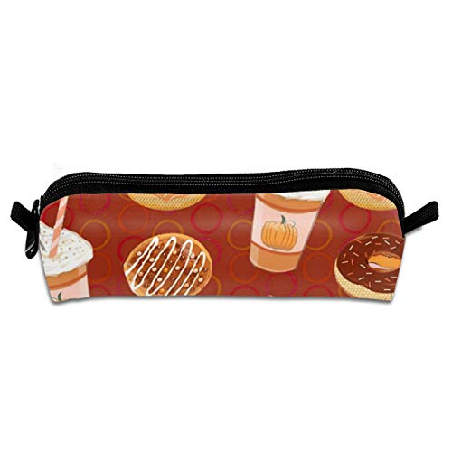 Holiday Pumpkin Spice Latte Doughnuts Pencil Bag Pen Case Students Stationery Pouch Zipper Bag for Girls Boys Kids 8.26 X 2.16 X 1.96 inch -