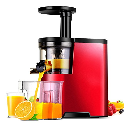Juicer-maschine Masticating (Entsafter Von ZAIYI Juicer Home Automatische Trennung Von Obst Und Gemüsesaft Rückstände Saft Sojamilch Maschine,Red-23.6*17.1*39.8Cm)
