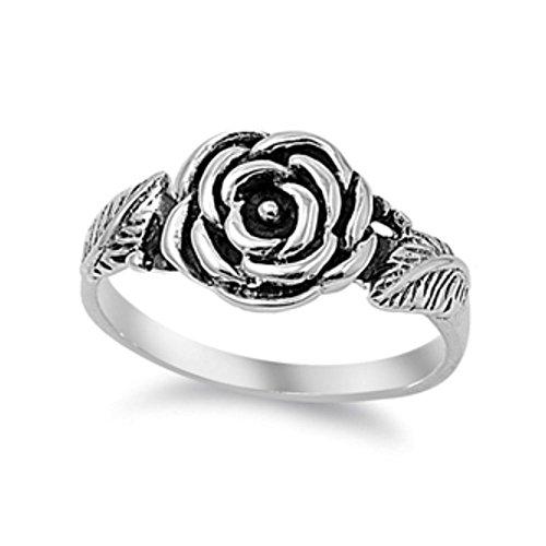 Sterling anillo de la flor de plata - Tamaño, 9 (15,60 mm)