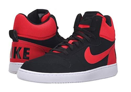 Nike Herren Court Borough Mid Basketballschuhe, Black (Schwarz/Action-Rot-Weiß), 42 EU