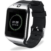 Smartwatch HAMSWAN Smartwatch Bluetooth para IOS Andriod Reloj Inteligente con Cámara Batería Grande Soporta TF SIM Facebook Whatsapp Twitter Pódometro Cronómetro ect. Como iPhone Samsung Huawei Xiaomi HTC Sony ect.