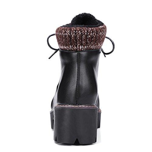 VogueZone009 Femme Haut Bas Lacet à Talon Correct Rond Bottes Noir