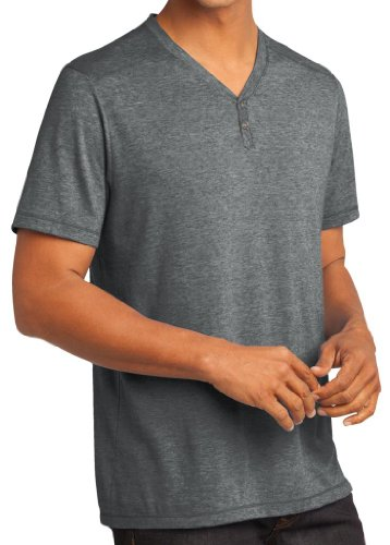 1f6620fb3dfe4 Yoga ropa para usted para hombre tri-blend gris Heather Henley – Camiseta de  manga