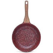 DECO EXPRESS Sartén Antiadherente de Cobre con Revestimiento de Piedra Mango Efecto de Madera 28cm