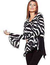 1d4f8580478 Star by Julien Macdonald Womens Black Zebra Print Flared Cuff Top