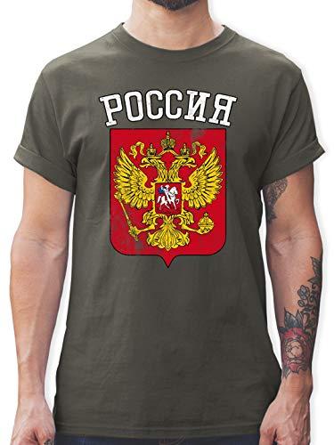 Fußball-Europameisterschaft 2020 - Russland Wappen WM - 3XL - Dunkelgrau - L190 - Tshirt Herren und Männer T-Shirts