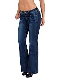 by-tex Jean Femme Bootcut Jean Taille Basse Pantalon Boot Cut BB e8ad2fac44cf