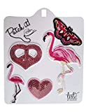 Leslii Bügelbilder Patches Flamingo & Herzen 5er Set