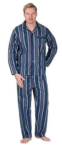 Herren Gebürstet Pure 100% Baumwollschlafanzug Winter Warm Flanell Thermo M L XL XXL - Marineblau Wein Streifen, X-Large (Wein X-large,)