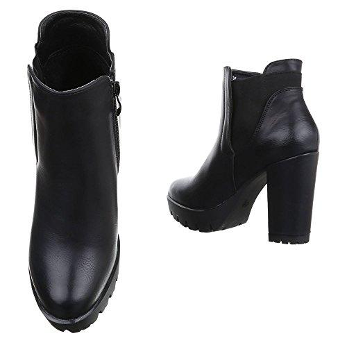 Damen Ankle Boots Schuhe High Heels Stiefeletten Schwarz 36 37 38 39 40 41 Schwarz