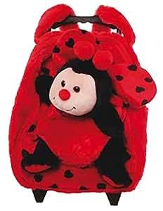 Inware 6839 - 3in1 Petit Trolley Coccinelle, pour les Enfants, rouge/noir, Sac à Roulettes, Peluche Coccinelle