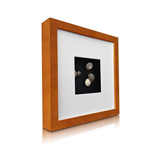 Classic by Casa Chic - Quadratischer Box-Bilderrahmen aus Echtholz - rustkales Braun - 23x23 cm und...