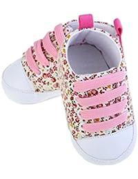 Gemini_Mall®, scarpe da ginnastica con lacci da bimba, in tela con motivo floreale, morbide, con suola antiscivolo (6-12mesi, rosa)