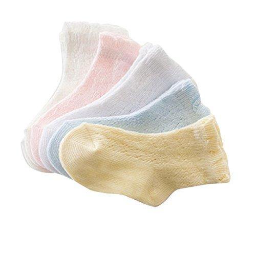 Butterme 5 Pack Unisex-Baby-Kleinkind Newborn Weiche Ruffle Cuff Socken Pointelle Non-Skid für 0-2/2-4 Jahre Baby-pointelle