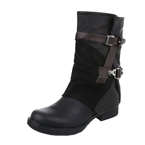 Western- & Bikerstiefel Damen-Schuhe Cowboy Stiefel Blockabsatz Blockabsatz Reißverschluss Ital-Design Stiefel Schwarz, Gr 38, (Western Cowboy Stiefel)