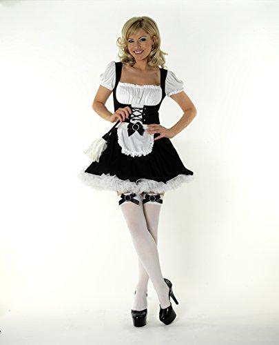 Mix lot Sexy Satin Französisch Maid Erwachsene Uniform Kostüm Hen Party Mock Korsett vorne Ladies Outfit Größen 36-38 / 40-42 / 44/46 (Medium 40-42, schwarz)