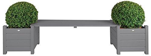 Esschert Design Bankbrücke in grau aus Holz, ca. 188 cm x 40 cm x 40 cm