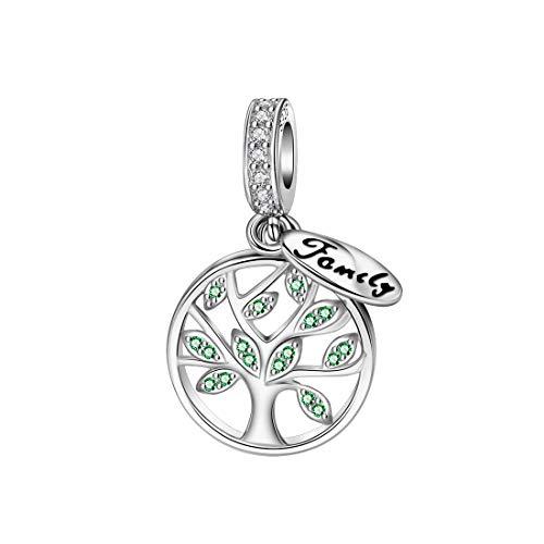 """DALARAN Stammbaum Des Lebens Baumeln Charm Bead 925 Sterling Silber Grüne Perlen Mit CZ für Charms Family Armband\""""MEHRWEG\"""""""
