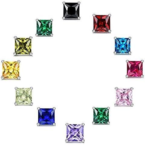 Sreema London - Coppia di straordinari orecchini in cristallo, imitazione diamante; prodotto unisex, in argento, dimensioni: 6,0 mm 1 carato