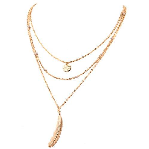 (KnBoB Necklace Vintage Multilayer Kette Gold Kette mit Münzen Leaf Charms Halskette Y)