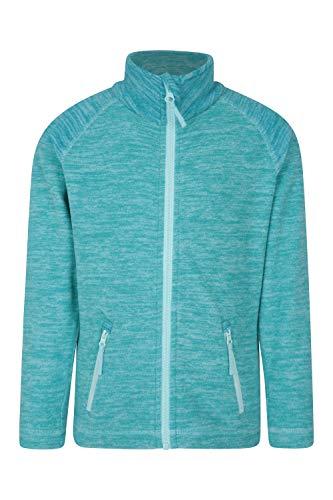 Mountain Warehouse Snowdonia Kinder-Fleecejacke - weicher Pullover, leichtes Sweatshirt, schnell trocknend, Taschen, Anti-Knötchenbildung - Für kaltes Wetter, Reisen, Frühling Blaugrün 152 (11-12 Jahre)