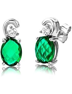 ByJoy Damen-Ohrstecker 925 Sterling- Silber Ovalschliff Grün Smaragd
